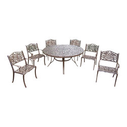 Oakland Living - 7-Pc Round Dining Set - Includes one dining table, six chairs and metal hardware. Fade, chip and crack resistant. Traditional lattice pattern and scroll work. Handcasted. Umbrella hole table top. Hardened powder coat. Warranty: One year limited. Made from rust free cast aluminum. Antique bronze finish. Minimal assembly required. Chair: 22.5 in. W x 22 in. D x 35 in. H (23 lbs.). Table: 60 in. Dia. x 29 in. H (70 lbs.). Overall weight: 201 lbs.This dining set is the prefect piece for any outdoor dinner setting. Just the right size for any backyard or patio. Center of the table can be replaced with an ice bucket. We recommend that the products be covered to protect them when not in use. To preserve the beauty and finish of the metal products, we recommend applying an epoxy clear coat once a year. However, because of the nature of iron it will eventually rust when exposed to the elements. The Oakland Mississippi Collection combines southern style and modern designs giving you a rich addition to any outdoor setting.