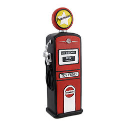 Retro Gas Pump `Toy Fund` Coin Bank Nostalgia - This wonderful coin bank adds a nice, nostalgic accent to your room. Made of cold cast resin, it looks like a 1950`s gas pump, complete with side hose. It measures 8 inches tall, 2 1/2 inches wide, and 2 inches deep. The bank is hand-painted, and empties via a pull-open plastic plug on the bottom. It adds a fun accent to bookshelves, curio shelves and dressers.