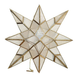 Kouboo - Star Tree Topper in Capiz Seashell - Handset capiz seashell on metal frame,