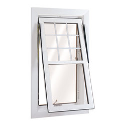 Flip & Wash Windows - Open view of Wellington Flip and Wash Window in Double Hung style; shown in White with grids.