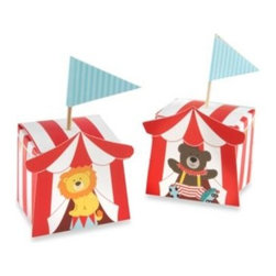 "Kate Aspen - Baby Aspen ""Big Top"" Circus Favor Boxes (Set of 24) - You can almost hear the music, see the clowns, the three rings and the smiles on everyone's face! The circus is fun from your very first one--and the excitement grows from there! Here's a big-top ""sweet shop"" favor box for your circus-themed baby shower."