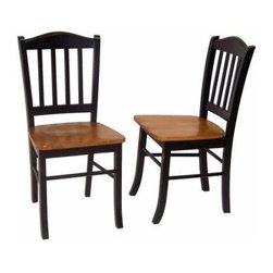 Boraam - Boraam Shaker Chairs in Black/Oak  [Set of 2] - Chairs in Black/Oak  in the Shaker Collection by Boraam With this purchase you will discover a set of two charming dining chairs that are sure to complement any home in which they resign. Constructed with solid hardwood, the shaker chairs are durable and designed to last. The two back legs of each chair have a strategically designed outward flare, thus ensuring an unwaveringly secure place to sit. Each chair has a contour seat, as well as a slightly angled backrest with an ideal height to maximize your level of comfort as you sit. Cast your eyes on the enchanting two toned black-oak color finish that will harmonize beautifully with about any interior design style. The physical and cosmetic attributes of these chairs are sure to withstand the test of time. This is not a purchase; buying these chairs is an investment. Complete the look by pairing four Shaker chairs with the Shaker dining table to make a five piece set or with both the Shaker table and the Shaker bench to make a six piece set!