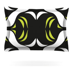 """Kess InHouse - Miranda Mol """"Green White Jaws"""" Pillow Sham (Woven, 40"""" x 20"""") - Pairing your already chic duvet cover with playful pillow shams is the perfect way to tie your bedroom together. There are endless possibilities to feed your artistic palette with these imaginative pillow shams. It will looks so elegant you won't want ruin the masterpiece you have created when you go to bed. Not only are these pillow shams nice to look at they are also made from a high quality cotton blend. They are so soft that they will elevate your sleep up to level that is beyond Cloud 9. We always print our goods with the highest quality printing process in order to maintain the integrity of the art that you are adeptly displaying. This means that you won't have to worry about your art fading or your sham loosing it's freshness."""