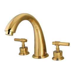 """Kingston Brass - Kingston Brass Polished Brass Milano Two Handle Roman Tub Filler KS2362ML - Solid brass construction for durability and reliability, Premium color finish resists tarnishing and corrosion, 13.0 GPM at 60 PSI, 7-1/8"""" spout reach, 8-7/16"""" spout height, 5-1/4"""" spout clearance, 3/4""""-14NPS, 1/4 turn ceramic disc cartridge, 8""""-16"""" widespread installation, Ten year limited warranty.. Manufacturer: Kingston Brass. Model: KS2362ML. UPC: 663370011191. Product Name: Two Handle Roman Tub Filler. Collection / Series: Milano. Finish: Polished Brass. Theme: Contemporary / Modern. Material: Brass. Type: Faucet. Features: Drip-free ceramic cartridge"""