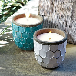 """West Elm Hive Candlepots - Tired of all those pesky mosquitoes? How about getting rid of them with these snazzy citronella candles?  Dimensions: 4""""diam. x 4""""H."""