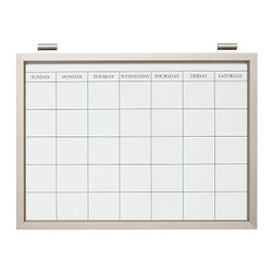 "Daily System Magnetic Whiteboard Calendar, Stainless Steel finish - Clever and versatile, our modular Daily System is the ultimate home-office assistant. Short Display Rod: 12"" long Long Display Rod: 24"" long Letter Bin: 12"" wide x 19"" high Office Organizer: 12"" wide x 19"" high Corkboard: 12"" wide x 19"" high Chalkboard: 24"" wide x 19"" high Magnetic Whiteboard Calendar: 24"" wide x 19"" high Linen Pinboard: 24"" wide x 19"" high Whiteboard: 24"" wide x 19"" high Made of MDF with an aluminum finish. Catalog / Internet only."
