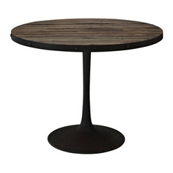 Drive Wood Top Dining Table - Deliberately implement down-to-earth aesthetics with the Drive industrial modern dining table. Fashioned on a cast iron pedestal base, the round pine top is braced in a rim of iron to connote progress amidst rustic conditions. in contrast to the standard four legged tables, the single stand variety has been gaining popularity over the past 60 years. Now with the resurgence of industrial modernism, the warehouse of yesteryear comes remodeled into its present stance as an artform.