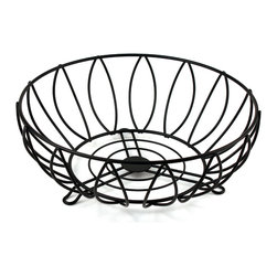 Spectrum Diversified Designs - Leaf Fruit Bowl - Black - Keep fresh fruit and vegetables handy and ready to eat with our Leaf Fruit Bowl. Also great for serving bread, rolls and muffins.  Made of sturdy steel with a black finish. A hospitality favorite for restaurants and hotels.