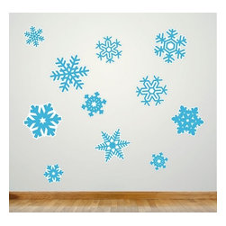 Design Your Wall - Snowflakes - Christmas Wall Decal - Welcome winter into your home with this festive and playful Wall Decal! Set includes 11 snowflakes.