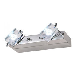 ParrotUncle - K9 Crystal Shade Stainless Steel Base Bath Vanity Wall Lights, 2 Lights - This brilliant contemporary bathroom miroor wall light uses bubble crafted K9 glass crystal to shade its bulbs. The chrome finished metal has a near mirror effect.LED bulbs are inculded. Available with two, three or four lights.