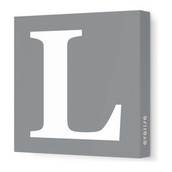 """Avalisa - Letter - Upper Case 'L' Stretched Wall Art, 28"""" x 28"""", Gray - Spell it out loud. These uppercase letters on stretched canvas would look wonderful in a nursery touting your little one's name, but don't stop there; they could work most anywhere in the home you'd like to add some playful text to the walls. Mix and match colors for a truly fun feel or stick to one color for a more uniform look."""