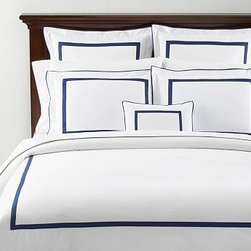 "Morgan 400-Thread-Count Duvet Cover, King/Cal. King, Twilight Blue - Our popular Morgan bedding is tailored with flat piping and a slim mitered border - a handsome frame for an embroidered monogram. 100% cotton percale. 400 thread count. Tailored with flat contrasting piping and a mitered border. Duvet cover has hidden faux-shell button closure and interior ties to keep the duvet in place. Sham has an envelope closure; insert is sold separately. Machine wash. Catalog / Internet only. Imported. Monogramming is available at an additional charge. Monogram is 3"" will be centered on the duvet cover and the sham."