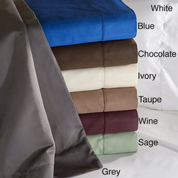 None - Cotton Blend 600 Thread Count Hem Stitch Sheet Set and Optional Pillowcase Separ - A modern design using classic techniques,these 600 thread count cotton rich sheets use hem stitching for a royal look at an affordable price.