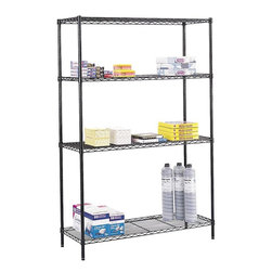 Safco - Commercial Wire Shelving Starter Unit in Black - Three open wire shelves. Four posts. Shelf clips. Adjustable leveling feet with plastic caps. Durable powder coat finish resists wear. Material Thickness: 10 ga. (shelf surface), 3 ga. (frame), 16 ga. (post), 6 ga. (wave pattern). Shelf adjusts in 1 in. increments. 500 lbs. evenly distributed shelf carrying capacity. 2000 lbs. evenly distributed overall carrying capacity. GREENGUARD Certified. Made from steel. 48 in. W x 18 in. D x 72 in. H (54 lbs.). Assembly InstructionGet wired! With Wire Shelving you're sure to get the storage space you need. These shelves are designed to get your office organized and keep it that way. Easily store office supplies, break room supplies, paper, marketing materials and other supplies so they are easy to find and incur no damage. Great for your supply room, storage area, mail room, warehouse, storage closet, garage area or even a classroom, assembly area or production area. Get storage where you need it, and always be able to find what you're looking for!