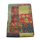 Indian Kantha Quilt - Gold/Multi - Gorgeous patchwork bedspread, hand stitched in the Kantha style to create a stunning texture and appearance. This bedspread is lined with a plain coordinating fabric. Each one of these striking bedcovers is lovingly handcrafted and unique, 100% Cotton