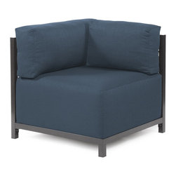 Howard Elliott - Sterling Indigo Axis Corner Chair Slipcover - Ready to wear! Wouldn't it be fun to change your Axis Sectional on a whim? Now you can! With a Sterling Axis Cover, tailored construction and velcro fasteners make it so that you would never know these pieces are slipcovered. This provides for easy cleaning and quick updating. Get a whole new look with the rich linen-like texture of the Sterling Axis Slipcover and its selection of bold, vibrant colors!!