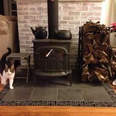 Custom Tile inlay, Vermont Castings Wood Stove, Kali Cat