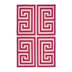 "Pink Greek Key Hook Rug - Pink Greek Key Hook Rug 3'X5"""