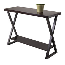 Winsome Wood - Hall Table with Dark Bronze Legs - Comes with veneer top in cappuccino. X-shape metal legs. 23.03 in. clearance from top to shelf. Made from composite, metal. Cappuccino finish. Assembly required. Shelf: 35.67 in. W x 9.65 in. D. Overall: 241.97 in. W x 15.75 in. D x 30.31 in. HKorsa Table Collection adds a special look to your living room.