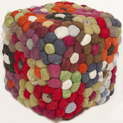 None - Handmade Multicolor Wool Pouf - Change the decor of any living space with this Indian multicolored handmade pouf crafted from colored balls of wool. The exotic piece makes a great lounging accessory to any room and will spark plenty of conversations when company is over.