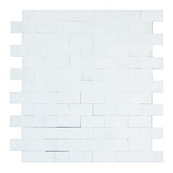 STONE TILE US - Stonetileus 4 pieces (4 Sq.ft) of Mosaic Everest White 1x2 Split Face - STONE TILE US - Mosaic Tile - Everest - White - 1x2 - Split Face Specifications: Coverage: 1 Sq.ft size:  - 1 Sq.ft/Sheet Sheet mount:Meshed back Stone tiles have natural variations therefore color may vary between tiles. This tile contains mixture of white - light gray - and color movement expectation of The beauty of this natural stone Mosaic comes with the convenience of high quality and easy installation advantage. This tile has Split Face surface, and this makes them ideal for walls, kitchen, bathroom, outdoor, Sheets are curved on all four sides, allowing them to fit together to produce a seamless surface area. Recommended use: Indoor - Outdoor - High traffic - Low traffic - Recommended areas: Everest - White - 1x2 - Split Face tile ideal for walls, kitchen, bathroom,Free shipping.. Set of 4 pieces, Covers 4 sq.ft.