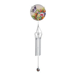 "GSC - 25"" Purple Butterfly with Flowers Glass Wind Chime - This gorgeous 25"" Purple Butterfly with Flowers Glass Wind Chime has the finest details and highest quality you will find anywhere! 25"" Purple Butterfly with Flowers Glass Wind Chime is truly remarkable."