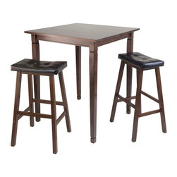 Winsome Wood - Winsome Wood Kingsgate 3 Piece High/Pub Dining Table w/ Cushioned Saddle Stool - 3 Piece High/Pub Dining Table w/ Cushioned Saddle Stool belongs to Kingsgate Collection by Winsome Wood 3pc Set includes Kingsgate High Table features grooved detailing on four legs. Constructed from Solid wood in Antique Walnut Finish. Saddle Seat Stool with Cushioned in Black Faux Leather with solid wood legs complete the set. Perfect for any kitchen. Pub Table (1), Stool (2)