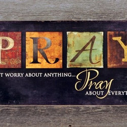 """MyBarnwoodFrames - Pray About Everything Marla Rae Art Print Black Distressed Wood Frame - Framed Print: PRAY - Don't worry about anything Pray about everything. Colorful block letters spell out """"PRAY,"""" and the entire print is framed in a beautifully-crafted reclaimed wood frame. Natural barnwood colors and tetures highlight the distressed look of the print's background. Your frame may vary slightly in color or texture from the one pictured here."""