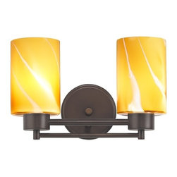 Design Classics Lighting - Neuvelle Bronze Modern Bathroom Light with Brown Art Glass - 702-220 GL1022C - Contemporary / modern neuvelle bronze 2-light bathroom light. A socket ring may be required if installed facing down. Takes (2) 100-watt incandescent A19 bulb(s). Bulb(s) sold separately. UL listed. Damp location rated.