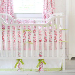 New Arrivals - New Arrivals Crib Bedding Bloom Pink - Reflecting the whimsy and joy of life, New Arrivals delivers fun and function to a child's room. A bright nursery design, the pink, green and white Bloom crib bedding delivers a playful combination of damask, geometric and solid fabrics. This lively sheet, skirt, receiving blanket and bumper collection offers sets of two, three or four coordinating pieces. Optional boudoir pillow, changing pad cover and curtain panels are available. Handmade in the USA.