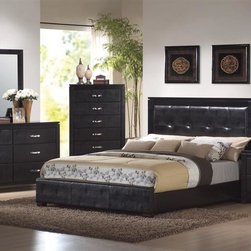 Coaster - Dylan 5-Pc Platform Bedroom Set (Queen) - Choose Bed Size: QueenIncludes bed, chest, dresser, mirror and nightstand. Contemporary style. Bed with side rails and four wooden slats. High headboard covered in tufted rich black faux leather. Low profile footboard. Requires boxspring and foundation. Chest, dresser and nightstand sides and front covered in rich black faux leather. Shiny silver handles. Wood veneered top with straight edge. Dovetail construction. Center drawer glides. Chest with five drawers. Dresser with six drawers. Nightstand with two drawers. Vertical dresser mirror with faux leather frame. 0.88 in. frame thickness. Made from wood veneers and solids. Black finish. Bed:. Queen: 86 in. L x 63 in. W x 49 in. H. Eastern King: 86 in. L x 79 in. W x 49 in. H. California King: 91 in. L x 75 in. W x 49 in. H. Chest: 33 in. W x 15.75 in. D x 48 in. H. Dresser: 59 in. W x 15.75 in. D x 32 in. H. Nightstand: 23.5 in. W x 15.25 in. D x 24.5 in. H. Mirror: 33 in. W x 38.5 in. H. WarrantyThe Dylan collection includes stylish bedroom pieces that will help you transform your master suite into a calming oasis. Add the whole collection to your home for a calming and sophisticated style that you will love.