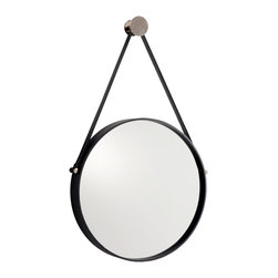 "Kathy Kuo Home - Expedition Iron Round Mirror with Leather Strap - We love a good strap hanging mirror, and this one is a beauty.  Black leather, glass and polished nickel come together in this piece to create a modern classic.  From deco to rustic, this one piece is so versatile, this is one ""expedition"" you'll always want to follow."