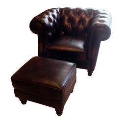 """Vintage Classics-Lazzaro - Brown Leather Chesterfield Chair and Ottoman - Enjoy the style and design of an English chesterfield Chair and matching ottoman. Upholstered in an hand antiqued leather, pleated arm accents and spindle foot. Seat cushions are removable and velcroed into place. Chair Dimensions approx 47"""" W x 42"""" D x 33"""" H. Ottoman Dimensions approx 24"""" W x 21"""" D x 19"""" H."""