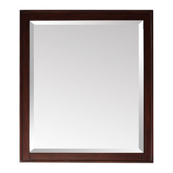 "Avanity - Madison 28"" x 32"" Mirror in Light Espresso Finish - 28W x 32H inches; Birch solid wood in Light Espresso finish; Beveled mirror; Hang two ways; Wood cleat at back for easy hanging"