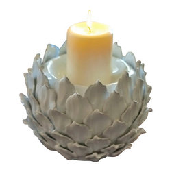 Blossom Pillar Candle Holder - Freshen up shelves or tabletops with this charming candle holder that adds a sophisticated touch to your home decor.