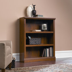 """Sauder - Storage Three Shelf Bookcase - Features: -Bookcase. -Available in oiled oak or jamocha wood finish. -Three shelves. -Two adjustable shelves. -Patented slide on moldings. -Assembly required. -Manufacturer provides 5 year warranty. -Overall Dimensions: 43.75"""" H x 35.25"""" W x 13.25"""" D."""