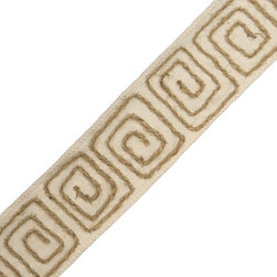 "Passementerie 2"" Hand Embroidered Canyons Border - I love this linen and jute trim tape from Samuel & Sons. I would use it to embellish a pair of simple linen pillows."