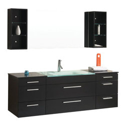 Virtu USA - 63in. Columbo - Espresso - Single Sink Bathroom Vanity - The Colombo vanity set is on the cutting edge of modern bathrooms. The design intersects beauty and functionality. The tempered glass basin highlights and contrasts the Espresso finish. Drawers and shelves provide abundant storage. The cabinet is constructed utilizing eco-friendly solid rubberwood. Luxury soft closing mechanisms are equipped with every drawer. A lifetime warranty faucet is included with the set. We must admit, the Colombo vanity is simply gorgeous and will make an incredible statement in any bathroom design.