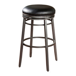 American Heritage - American Heritage Silvano Transitional Bar Stool in Flint - Make a modern, yet simple statement with the addition of the Silvano bar stool to your home. This backless stool features a flint metal frame with a black vinyl seat with 360 degree full bearing swivel, adjustable leg levelers and durable KD construction for years of enjoyment. What's included: Barstool (1).