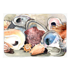 Caroline's Treasures - Sea Shells Kitchen Or Bath Mat 24X36 - Kitchen / Bath Mat 24x36 - 24 inches by 36 inches. Permanently dyed and fade resistant. Great for the Kitchen, Bath, outside the hot tub or just in the door from the swimming pool.    Use a garden hose or power washer to chase the dirt off of the mat.  Do not scrub with a brush.  Use the Vacuum on floor setting.  Made in the USA.  Clean stain with a cleaner that does not produce suds.