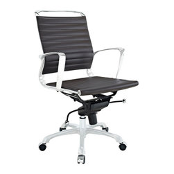 Modway Furniture - Modway Tempo Mid Back Office Chair in Brown - Mid Back Office Chair in Brown belongs to Tempo Collection by Modway Skip to a beat that your life's ambitions deserve. Tempo is a supercharged modern office chair that comes outfitted with all the amenities of its more stolid counterparts. The polished chrome-plated aluminum armrests portray a spirit on the rise, even as your arms find themselves properly positioned for the tasks at hand. The ribbed vinyl back and seat pattern help evenly disperse your body's weight, while instilling a look that imbues momentum and a love for life. Tempo comes equipped with a tension control knob and tilt lock to further personalize the chair, while the pneumatic chair lever easily adjusts the chair's height. The 360 degree swivel will also keep your inner ��_��_��_��_��_kid��_��_��_��_��_ entertained at all times as well. Additionally, the hooded aluminum base comes equipped with five dual-wheeled casters for easy gliding over carpeted surfaces. Whether you are looking to buy one for yourself, or one-hundred for your office, Tempo is a chair that enhances productivity in the most natural ways possible. Set Includes: One - Tempo Office Chair Office Chair (1)