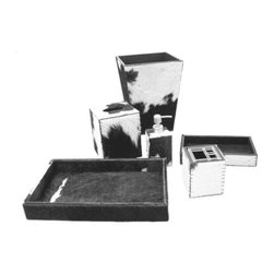 Belle & June - Black And White Hide Leather Tissue Box - Perfectly suited to the modern bathroom, this sleek tissue box is made of hide leather. Tuck away your tissue box inside this stylish and sleek black and white tissue box cover.
