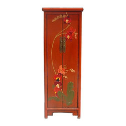 Golden Lotus - Chinese Orange Thick Oil Flower Graphic Narrow Cabinet - This is a narrow oriental slim cabinet repainted with orange lacquer base color and decorated with modern artistic thick oil flower graphic on the front doors.