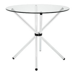"LexMod - Baton Dining Table in Clear - Baton Dining Table in Clear - Introduce an edgy style to your kitchen or dining room adventures with the Baton modern table. Topped with tempered glass, and a gathered baton base, collect your own assemblages of family and friends as you welcome in the (peacefully) unexpected. The chrome plated tubular base comes capped to prevent scratching. Set Includes: One - Baton Dining Table Modern dining table, Tempered glass top, Four baton base, Chrome plated steel, Black plastic foot caps, Easy wipe clean surface Overall Product Dimensions: 35.5""L x 35.5""W x 29""H Table Top Dimensions: 0.5""H - Mid Century Modern Furniture."