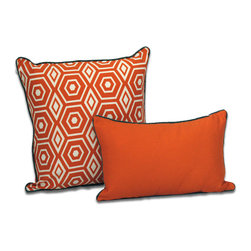 ez living home - EZ Living Home Honeycomb Dec Pillow Tangerine, 20x20 - *Aesthetically pleasing geometric pattern, EZ to decorate with, suitable for any style.