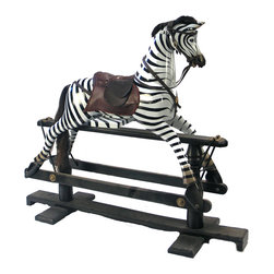 BradburyHD - Wooden Rocking Horse - Wooden rocking horse made of Tiki wood