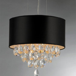 Warehouse of Tiffany - Sophie Crystal Chandelier - Add some elegance to your home with this crystal chandelier. This dynamic lighting element features generous rows of cascading crystals to catch the light along with a bold black shade.