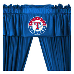 Store51 LLC - MLB Texas Rangers 5-Piece Long Curtain Drapes Valance Set - Features: