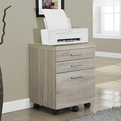 Monarch Specialties - Monarch Specialties Natural Reclaimed-Look 3 Drawer File Cabinet on Castors - Put the extra in extraordinary with this hollow-core 3 drawer filing cabinet on castors. Add this piece to any natural reclaimed, wood-look desk or table to create more storage. Whether tucked in under the desk or used to display a lamp, printer or other decorative items, this filing cabinet can be the little extra you needed in your space.