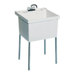 SWAN - SWAN ST10000FM.001 Single Basin Floor Mount Utility Sink - ST10000FM.001 - Shop for Commercial Laundry and Utility from Hayneedle.com! The SWAN ST10000FM.001 Single Basin Floor Mount Utility Sink is a free-standing unit that easily adds a wash-station laundry basin or utility sink to any room you choose. The sink is made from sturdy white Veritek and features no surface coating to scratch crack or stain. Maximum capacity: 22-gallons. Four chrome-plated steel legs support the piece. Unit features a molded back-shelf and comes pre-drilled for a 4-inch center faucet (not included).About Trumbull IndustriesFounded in 1922 as a single branch plumbing supply house Trumball Industries has evolved over the years in to a privately held corporation and full-line distributor with specialized divisions. With 6 branch locations Trumball Industries has several divisions: an Industrial Division that provides products and services to industrial manufacturers a Home Center Division that offers expertise in all major kitchen and bath products a Municipal Division that offers a full line of water and sewer products and a Master Distribution Center with 500 000 square feet housing over 80 000 products. Aside from providing quality services to their customers the people at Trumbull Industries are happy provide a tour of any of their facilities as well as assist you with any design layout or purchasing decisions.